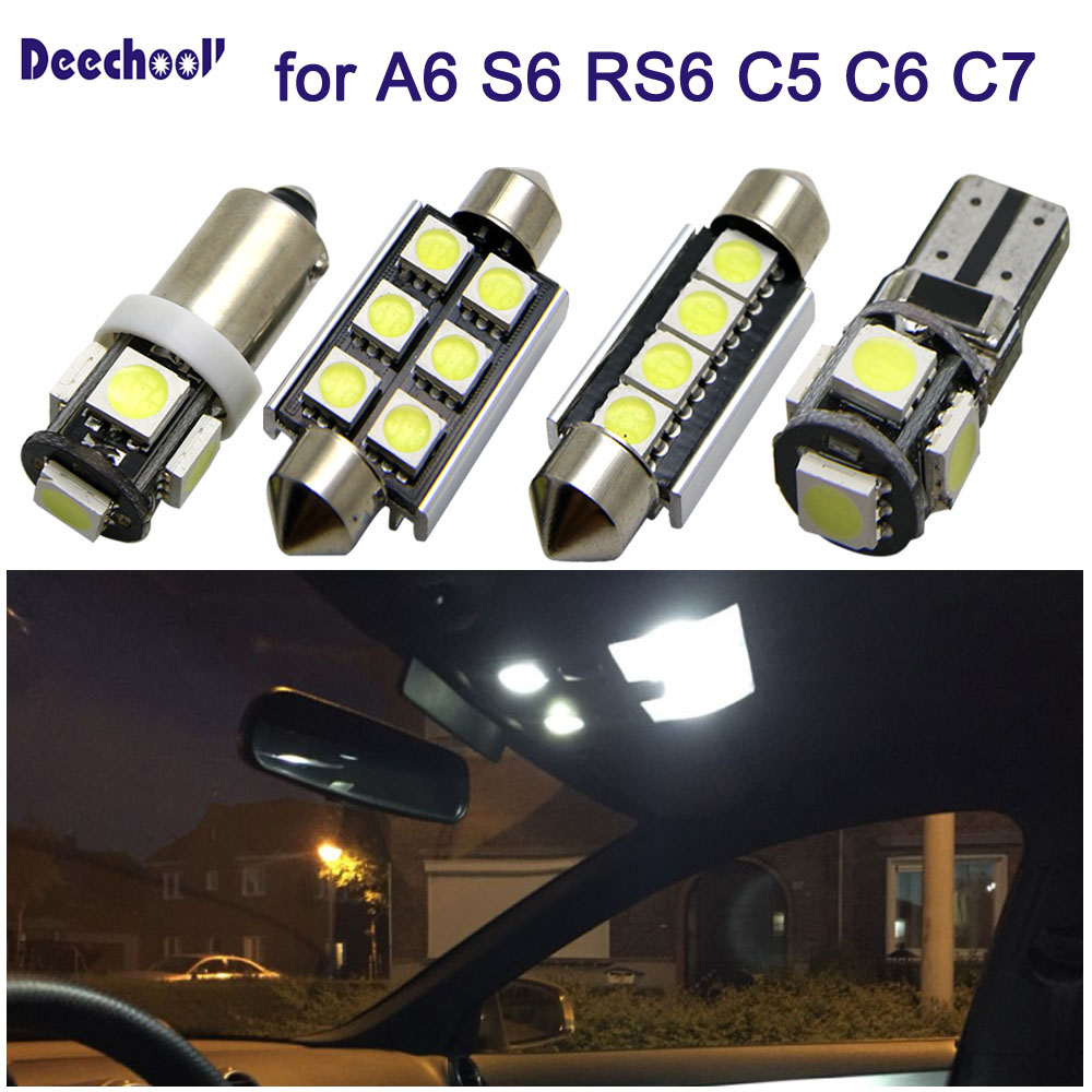 27pcs Car LED Light For Audi A6 S6 RS6 C5 C6 C7 Sedan Avant 97-16 Canbus Auto Interior Light Kit Dome Reading Lights Bulbs