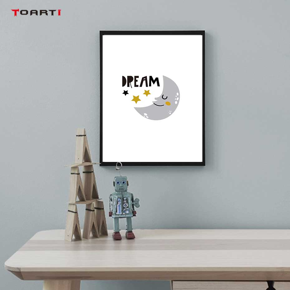 Image 4 - Cartoons Children Prints Posters Rainbow Moon Clouds Canvas Painting On The Wall Sun Art Picture For Baby Kids Bedroom Home Deco-in Painting & Calligraphy from Home & Garden