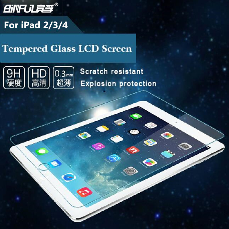 Vidrio templado de alta calidad de 0.3 mm 9H para iPad 2/3/4 9.7 pulgadas Protector de pantalla protege películas con tela limpia