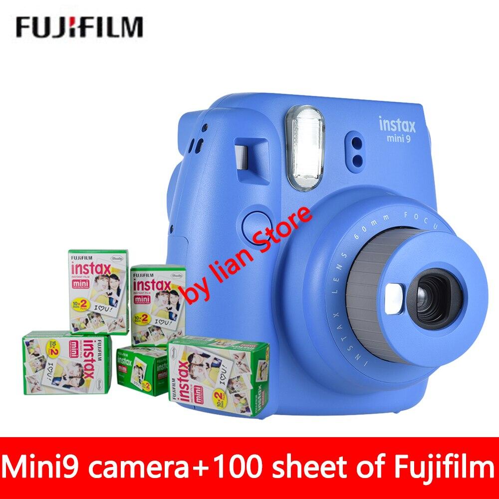 Original Fujifilm Instax Mini 9 Instant Photo Kamera + 70 blatt Fuji Instax Mini 8 Weiß Film + Close up objektiv Freies verschiffen