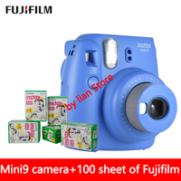 original Fujifilm Instax Mini 9 Instant Photo Camera + 70 sheet Fuji Instax Mini 8 White Film+Close up Lens Free shipping
