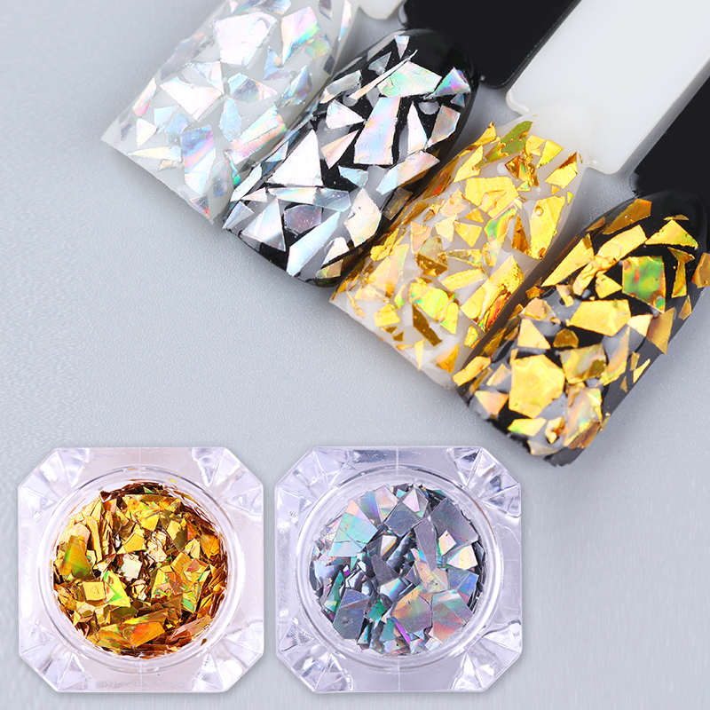 1box laser nail sequins holographic gold silver glitter paillette nail art diy flakes decoration. Black Bedroom Furniture Sets. Home Design Ideas