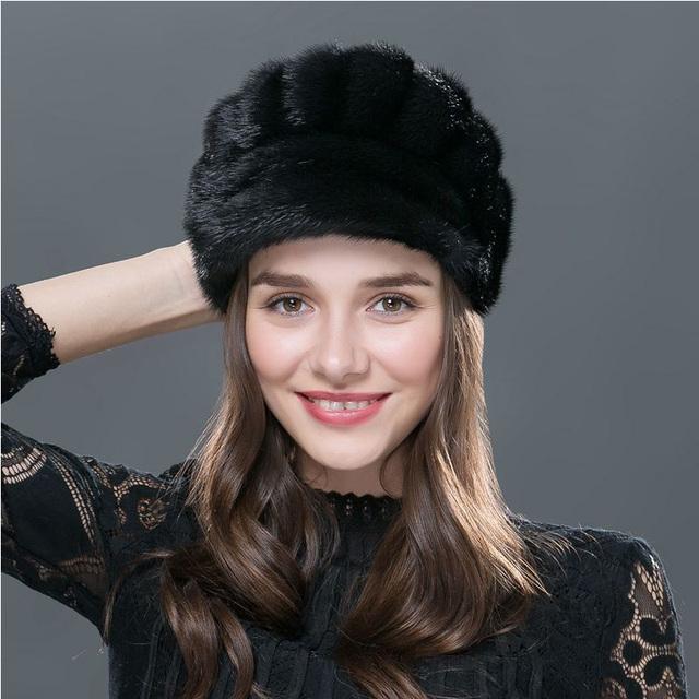 Pieles de visón real sombreros para el invierno ruso ajuste de punto ocasional de las mujeres sombreros gorros de piel tapa gruesa hembra 2016 venta caliente de alta calidad