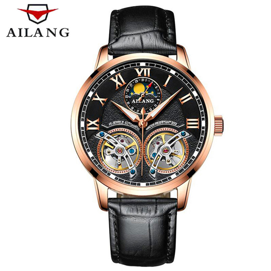 Unique design style Double Tourbillon skeleton Moon phase Watch leather AILANG Casual Men Mechanical Wristwatch Automatic Watch forsining2018 fashion casual new luxury roman numeral dail with tourbillon men s watch wristwatch moon phase display skeleton wa