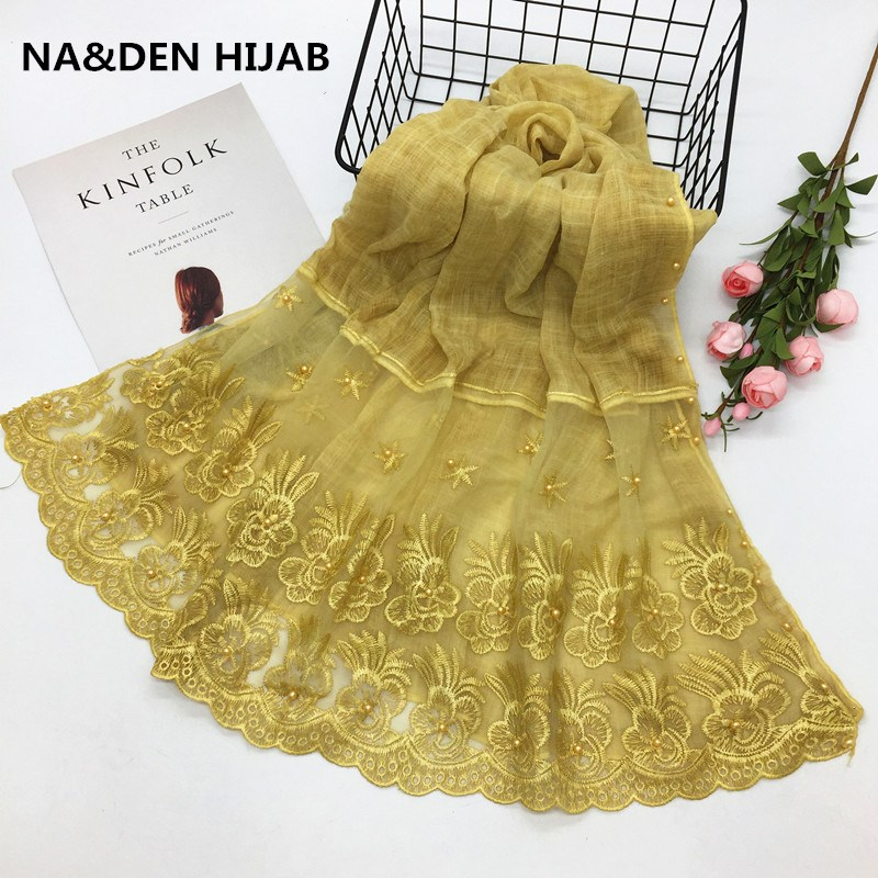 Muslim women scarf hijabs foulard plain beads pearls floral lace edges New design luxury solid shawl