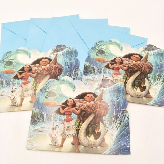 6pcs Set Moana Birthday Party Supplies For Girls And Baby Shower Favor Decoration Invitation Card Boy