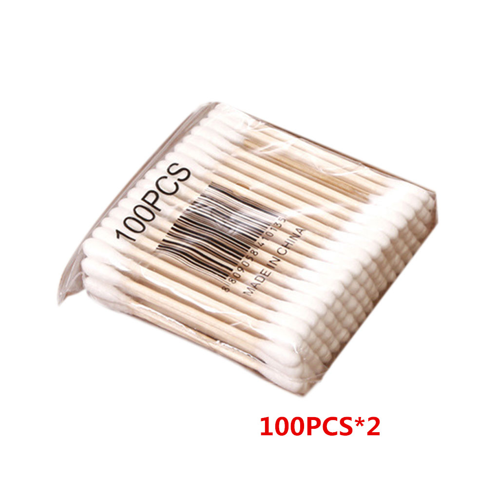 200PCS Double-headed Cotton Swab Stick Baby Sanitary Cotton Swab Cleansing Makeup Stick