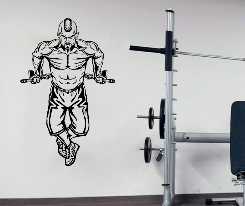 Fitness enthusiast Bodybuilding fitness vinyl wall stickers Fitness Club youth dormitory bedroom home decoration wall decal 2GY4-in Wall Stickers from Home & Garden