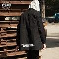 ANARQUISMO ATHIEF Hombres Loose Capa Del Viento Ocasional Impresa 100% Algodón Negro Otoño Rompevientos Chaqueta Larga Más Tamaño Envío Libre