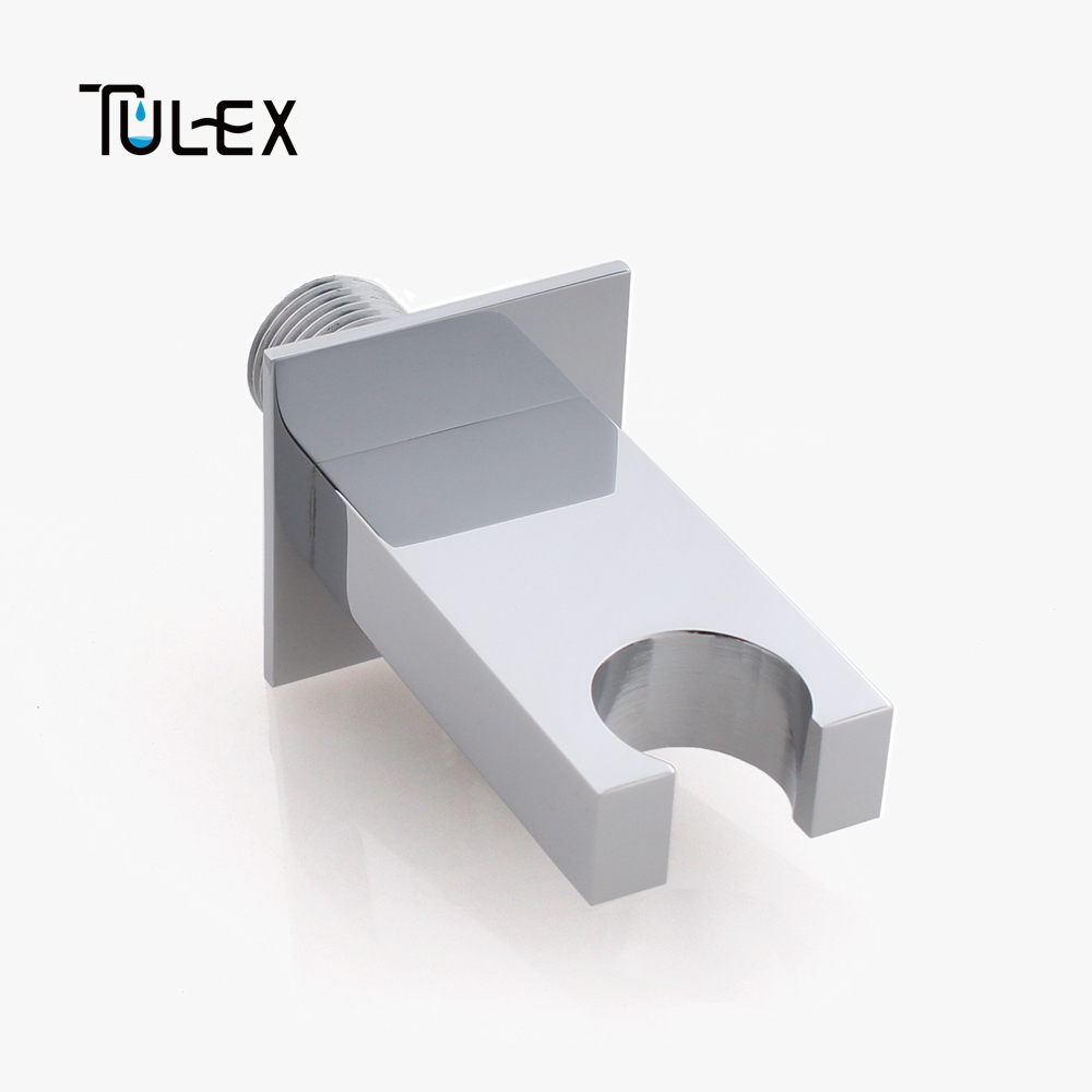 TULEX Shower Accessories Square Chrome Bathroom Brass Wall Connector ...
