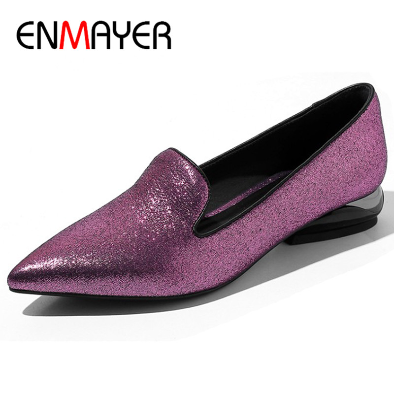 ENMAYER Square Heels Shoes Woman Low Heel Pumps Womens Plus Size 34-42 Pointed Toe Office Ladies Shoes Slip-on Pumps pu slip on pointed toe womens pumps