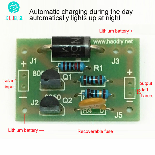 Diy Kits Solar Energy Lamp Board Control Sensor Lithium Battery Charger Night Light Controller