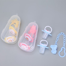 2PCS silicone nipple + anti-lost chain pacifier clips+ storage box 4-piece suit Food grade cartoon