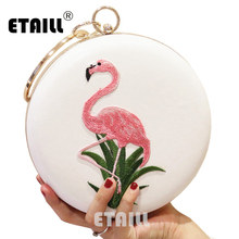 ETAILL Bird Embroidered Round Box Ladies Evening Bag Female Crossbody Bags For Women Party Day Clutches Purse Wedding Dinner Bag цена
