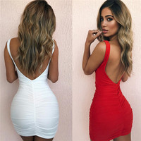 Solid Red White Sexy Sleeveless Folds Dress Women S Deep V Backless Slim Hip Mini Dress