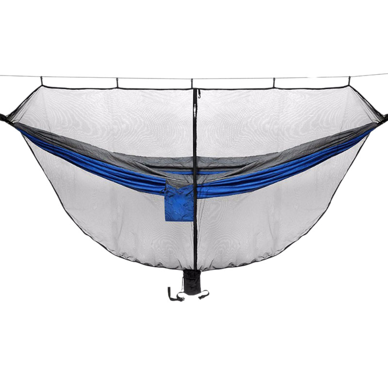 Camping Hammock With Mosquito Net Double Portable Sleeping Bed For Garden Hunting Travel With 2x Straps 2x Carabiner