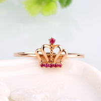 Robira Brand Exquisite Crown Shaped Ring Real 14K Rose Gold Natural Ruby Rings for Women Fashion Jewelry