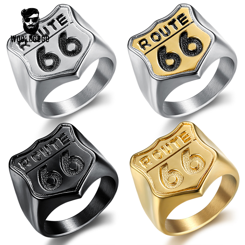 USA Road ROUTE 66 Ring for Man Stainless Steel Mens Cool Jewelry Motor Biker Club Wedding Bands Gold Finger Rings Men Bagues