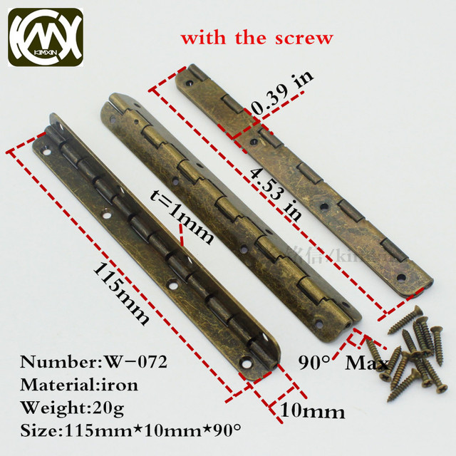 10pc 10*115mm KIMXIN Long Term Sales Bronze Flat Hinges Wooden Box Hardware  Antique Hinge Furniture And Cabinet Hardware W 072