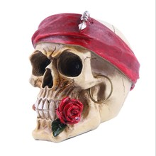 Resin Rose Skull Halloween Gift Personality Decoration Home Accessories Resin Skull Bar Decoration Housewarming Gifts цена 2017