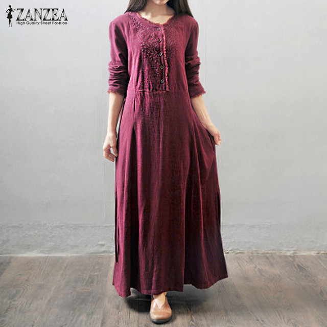 ZANZEA Women Long Maxi Dress 2017 Round Neck Long Sleeve Buttons Pockets  Vintage Casual Loose Solid f19bce291