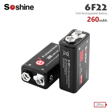 2Pcs Soshine 9.6V 6F22 PPP3 6LR61 260mAh Ni-MH Rechargeable battery Ni MH for Multimeter Microphone Toy Remote Control KTV use