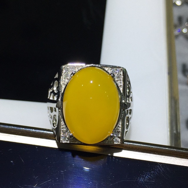 brixini.com - Natural Chalcedony 925 Sterling Silver Ring