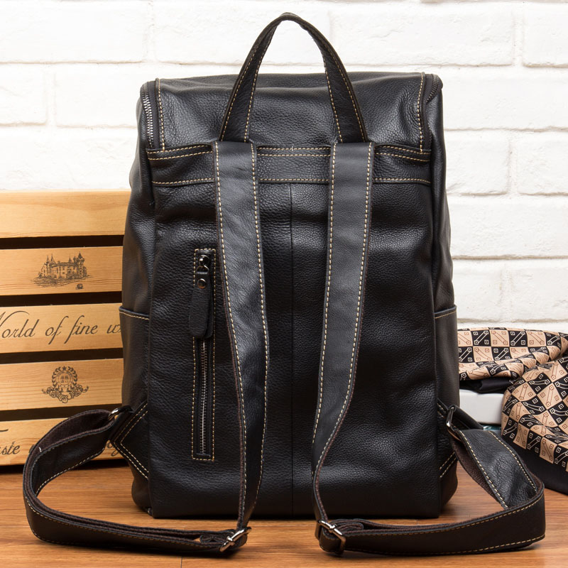 AETOO Leather shoulder bag men's leather backpack multi-functional computer bag travel casual Korean students bags