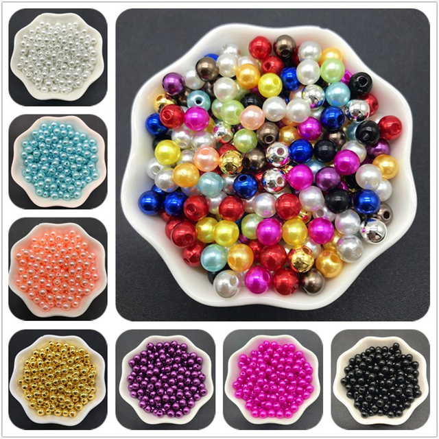 4mm 6mm 8mm 10mm Blue Imitation Pearls Acrylic Beads Round Pearl Spacer Loose Beads For Jewelry Making 1