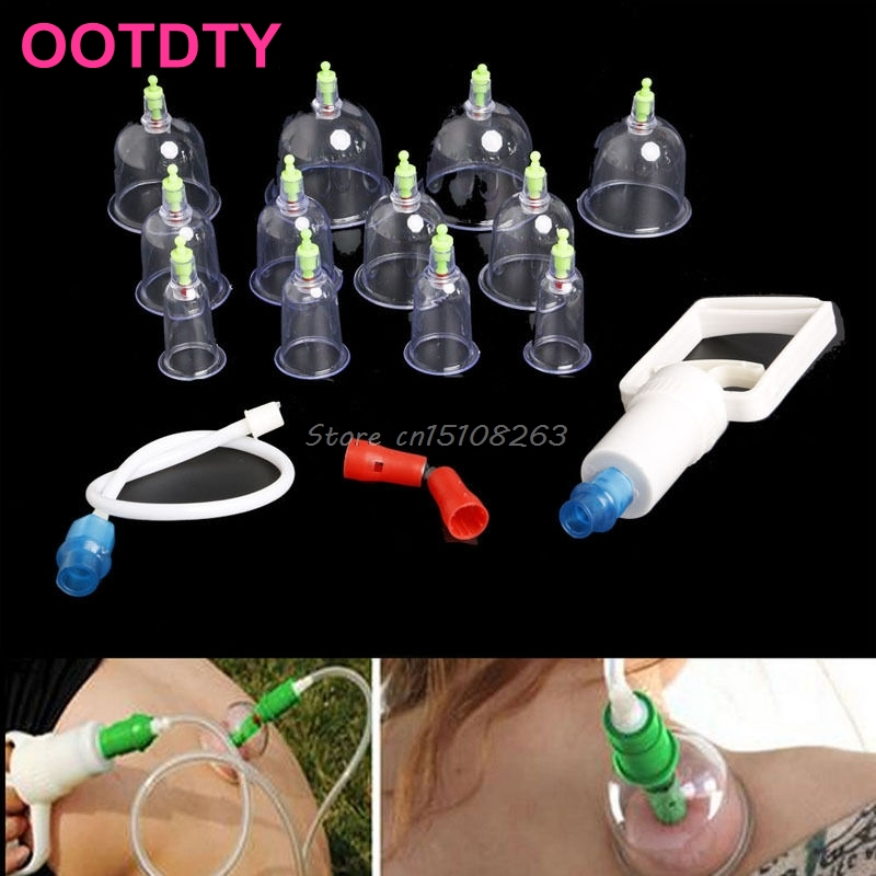 Pump Medical Chinese Body Cupping Massage Therapy Healthy Suction Set +12 Cups #Y207E# Hot Sale hot sale chinese traditional medical 12 cups vacuum body pump suction cupping set healthy massage therapy kit m01017