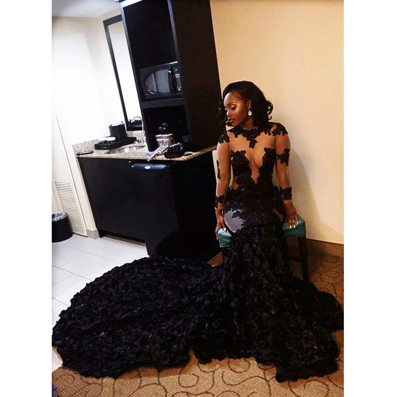 New African Black Mermaid Prom Dresses 2019 Organza Ruffles Long Prom Party Dress For Graduation Sheer Long Sleeve Evening Dress