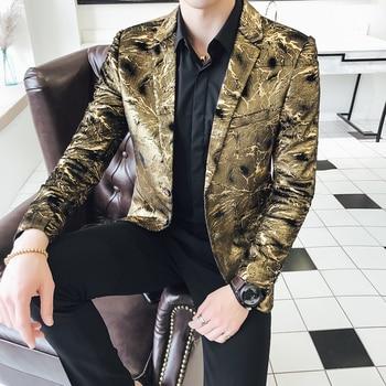 Blazer Men Four Seasons Royal Style Large Size 4XL 5XL Gold Narrow Collar Fashion Casual Slim Fit Formal Wear Blazer Masculino