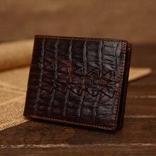 Дизайнерский мужской классический винтажный кошелек из крокодиловой кожи темно-коричневый высококачественный тонкий тисненый кошелек из натуральной кожи тонкий простой