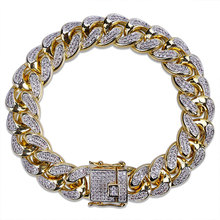 New Style Men HipHop Jewelry Bracelet Copper Gold Color Plated Iced CZ Stone 14mm Chain Bracelets With 7
