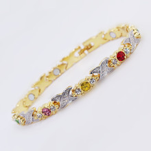 New Style Colorful Crystal Magnet Bracelets For Women Health Link Chain Jewelry Gift