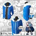 Hot Anime Game Undertale Skeleton Brothers Blue Hoodie Thick Warm Sweatshirt Coat Cosplay Costume Version For Men Women