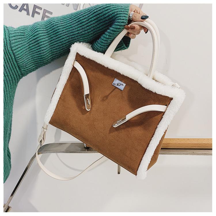 Korean handbag large capacity bucket hand bag designer big tote designer Fur women messengerc winter shopping wool no lock 94