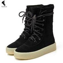รองเท้าแฟชั่นกันน้ำC Omfortแหม่มรองเท้าหนังนิ่มรองเท้าหุ้มลูกไม้ขึ้นหิมะสูงของแข็งผู้หญิงสันทนาการสีดำและเข่าบูตฤดูหนาว