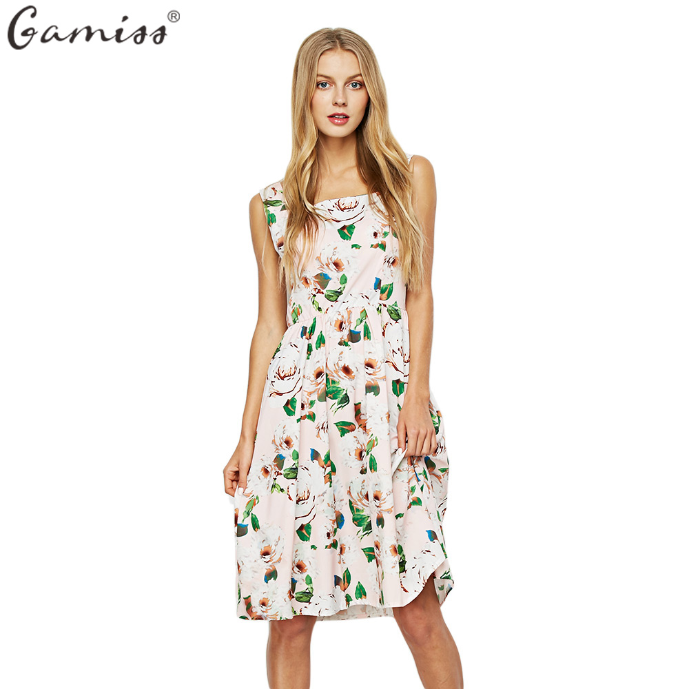 GAMISS Floral Pattern Summer Beach Dress For Women Elegant ...