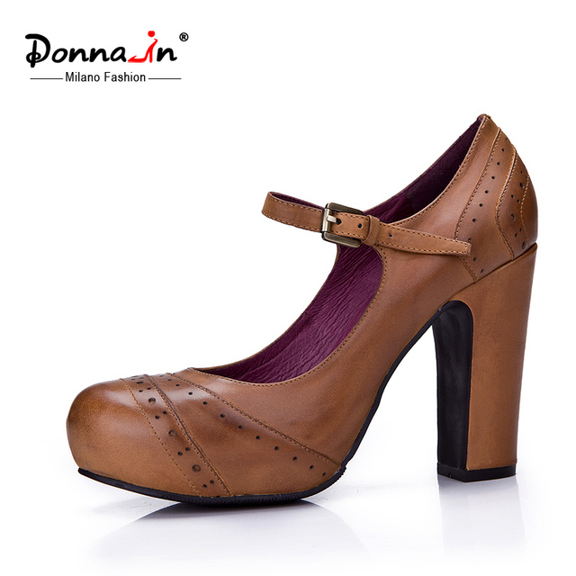 Donna-in 2016 spring new style platform high heel pumps cow leather women's shoes