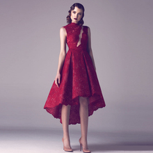 robe de soiree After short before long sexy high neck dark red lace prom drsses 2016 new fashion vestido festa evening gown