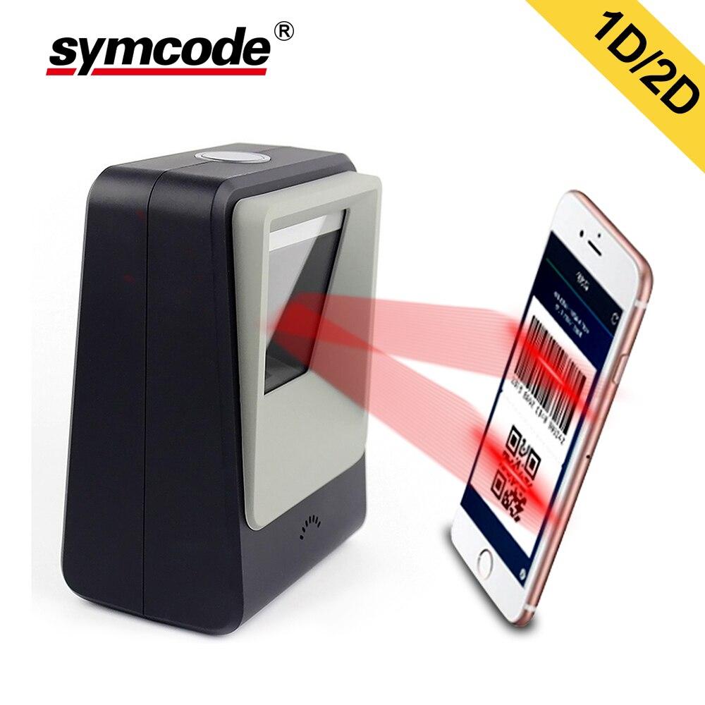 Bilgisayar ve Ofis'ten Tarayıcılar'de 1D 2D Otomatik Masaüstü Barkod Tarayıcı  Symcode USB Handsfree Kablolu Barkod Okuyucu ile Otomatik algılama Tarama Fonksiyonu title=