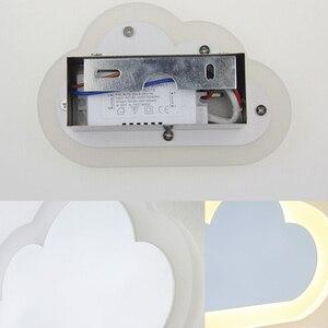 Image 4 - 8W Modern LED duvar ışığı oturma odası çocuk yatak odası dekoru bulutlar duvar lambaları akrilik ve demir minimalist aplik lambası AC 110V 220V 240V