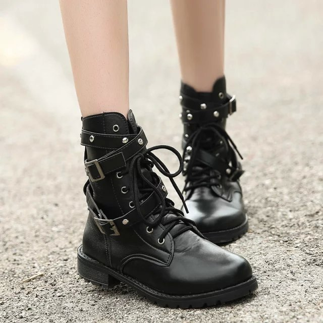 SWYIVY 2019 Motorcycle Boots Ladies Vintage Combat Autumn Boots Army Punk Goth women boots Women Biker PU Leather Short BootsMid-Calf Boots   -
