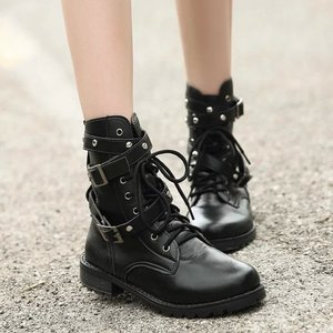 Image 1 - SWYIVY 2019 Motorcycle Boots Ladies Vintage Combat Autumn Boots Army Punk Goth women boots Women Biker PU Leather Short Boots