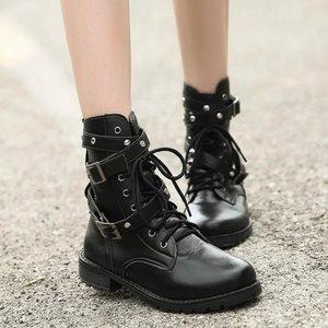 Image 1 - SWYIVY 2019 motosiklet çizmeler bayanlar Vintage savaş sonbahar çizmeler ordu Punk Goth kadın botları kadın Biker PU deri kısa çizmeler