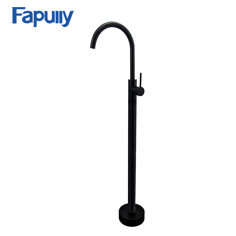 Fapully Bathroom Bath Tub Faucet Floor Mounted Tub Filler Swivel Matte Black Bathtub Mixer Faucet Taps