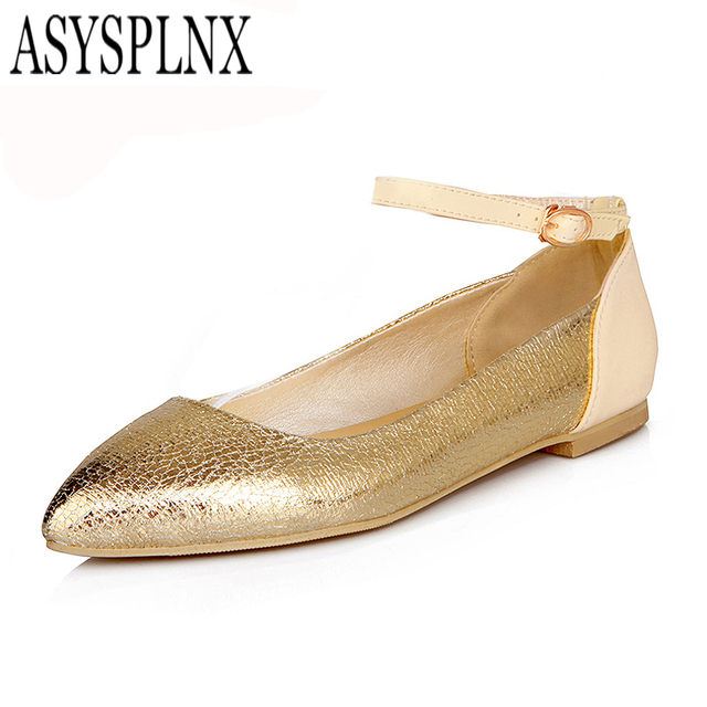 ASYSPLNX  Silver Gold pointed toe fashion women flats shoes,Autumn sweet casual classic pointed toe tenis feminino ladies shoes