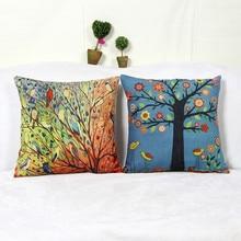 Cojín de lino para asiento de coche barato, cojines de silla de exterior Vintage nórdico, decoración del hogar para sofás, almohada de árboles de pájaros Anti-decúbito