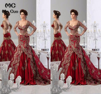 2 Piece Gowns Amazing 2018 Promotion India Style Three Quarter of Sleeve Embroidery Evening dress Formal Long Women Prom Dresses
